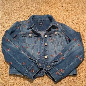 Girls GAP Embroidered Jean Jacket, Size L.